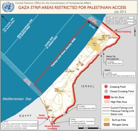 Gaza siege map