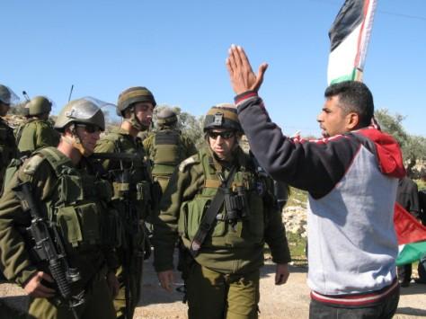 Iyad Burnat speaking to IDF