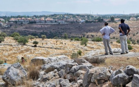 18 July - Villagers see Jewish military and illegal settlement in background. ISM