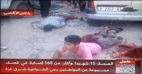 al-Shujaiya market massacre - children among wounded dead