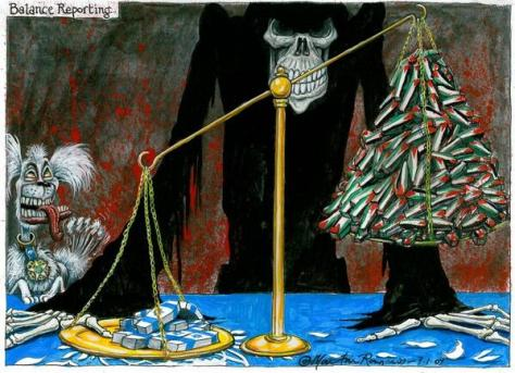 Balanced reporting cartoon by Martin Rowson