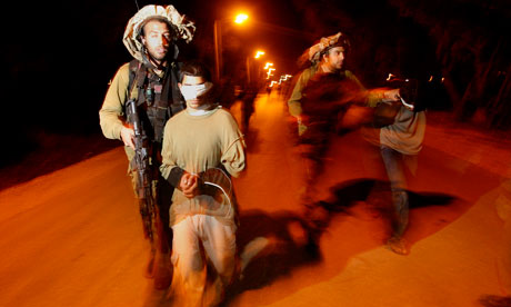 Brave Jewish soldiers and handcuffed blindfolded little boy kidnapped from his home at night