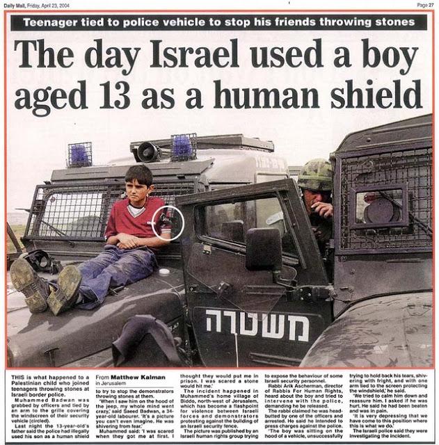 Dail Mail - IDF used boy as a human shield