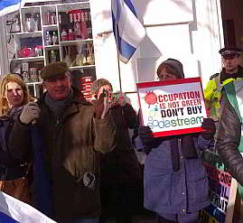 Demonstration outside SodaStream's Brighton UK store