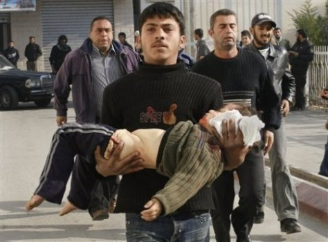 Father carries his 4 year-old shot in the head by Jewish soldier