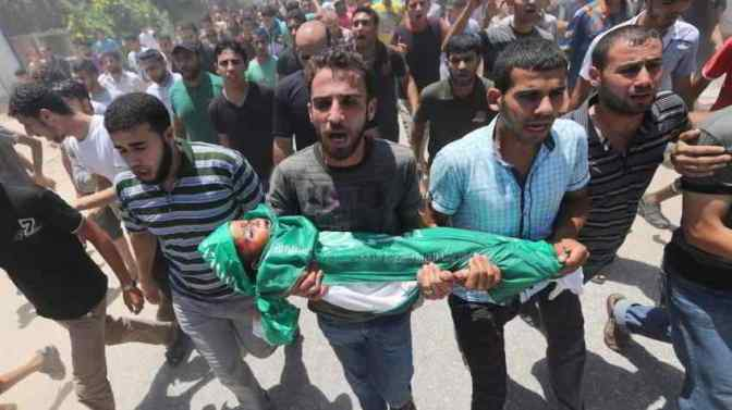 Funeral of 3 year-old Mohammed Mnassrah of Maghazi Camp