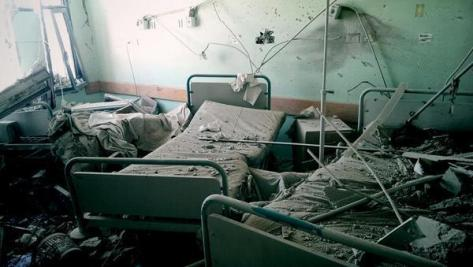 al-Aqsa Martyrs Hospital interior damage