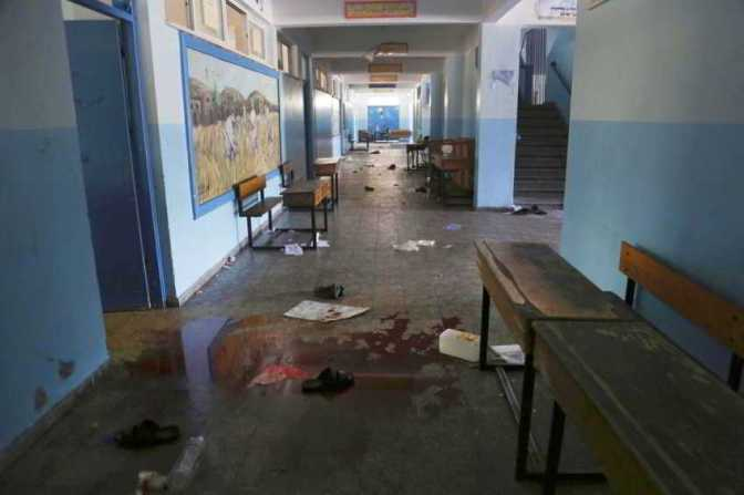Gaza - 24 July blood on the floor of the UN school bombed in Beit Hanoun