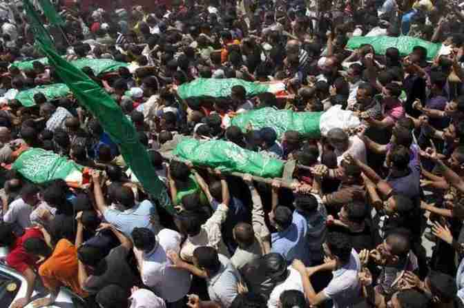 Gaza - al-Haj family funeral -family slaughtered by Jews Khan Younis