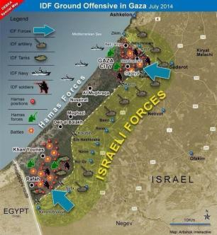 Gaza - DEBKA map of IOF invasion