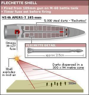 Gaza - flechette shell diagram