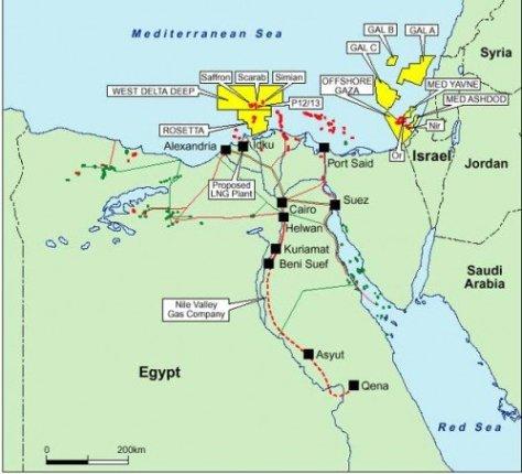 Gaza gas map