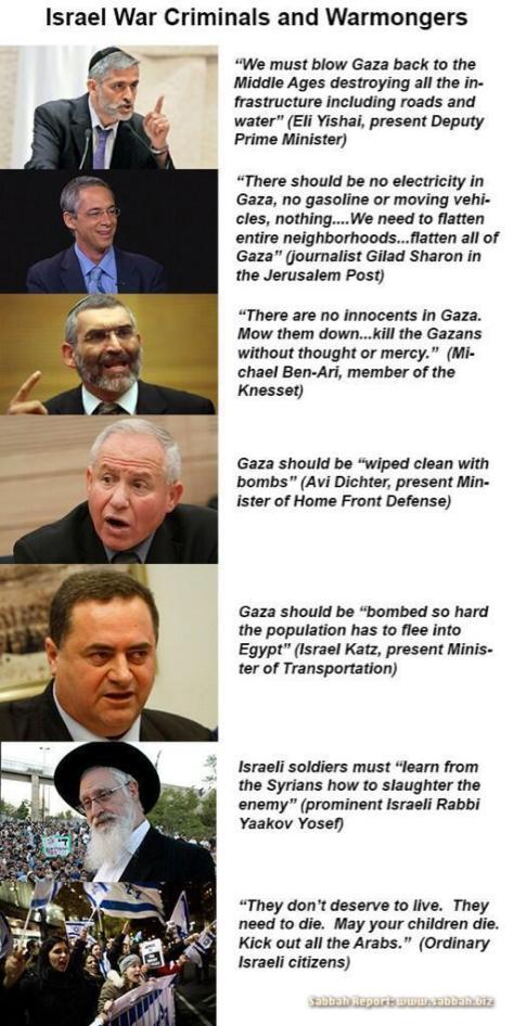 Gaza - Words of Jewish war criminals