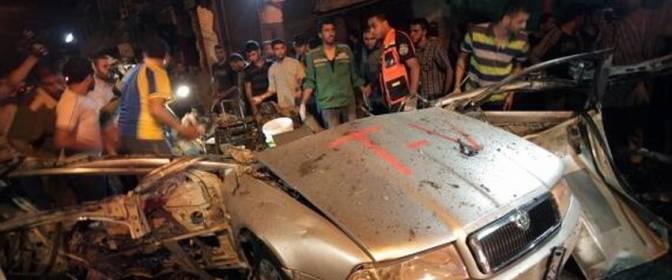 Gaza - journalist vehicle after airstrike