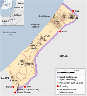 Gaza map with buffer zone shown