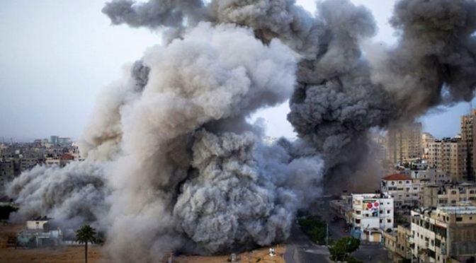 Gaza massive revenge bombing by Israel 2014