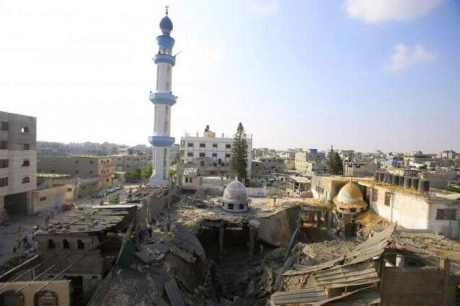 Gaza - another mosque destroyed by Jewish military strike