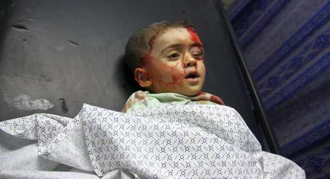 Gaza - tiny child slaughtered by Jews