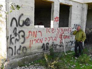 """Graffiti in Al Jeniya, West Bank reads """"Death to Arabs."""" Iyad Hadad, B'Tselem"""