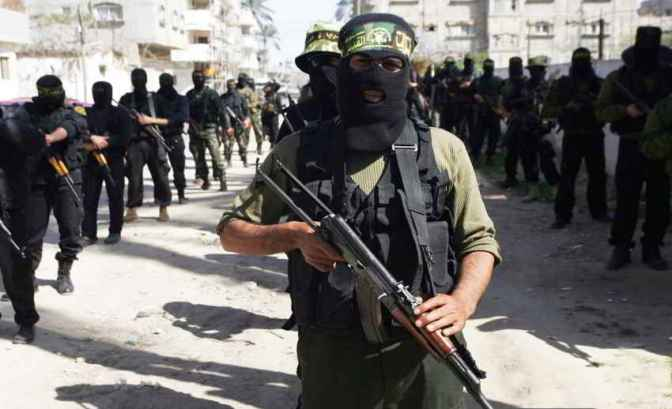 Hamas fighters in lines