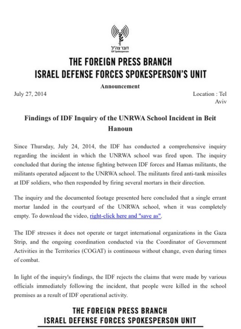 IOF denial of responsibility for UNRWA school deaths it caused
