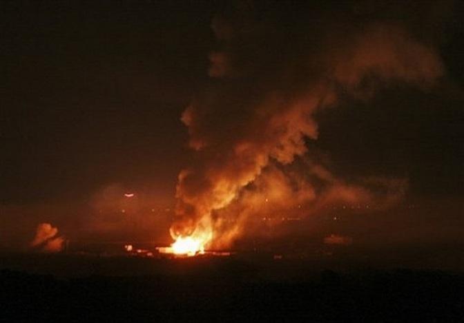 Israel bombs Gaza at night