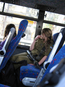 Israeli soldier on bus
