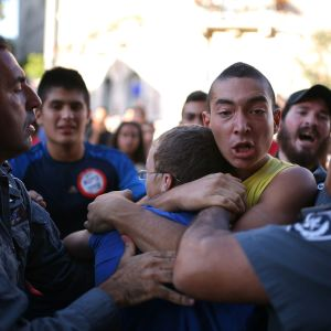 Jewish police rescue innocent Palestinian from violent Jew rioter
