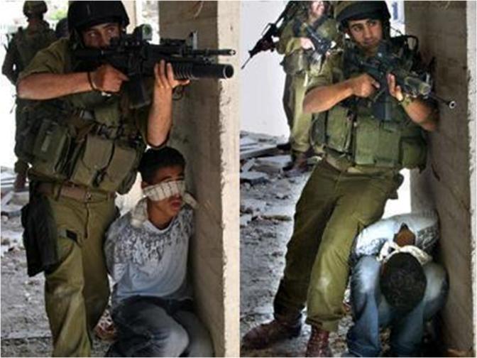 Jewish soldiers using Fadi Sharha as a human shield