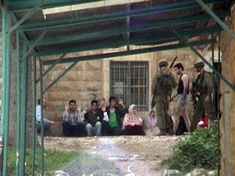 Jewish soldiers using human shields at student housing complex in Nablus April 2004