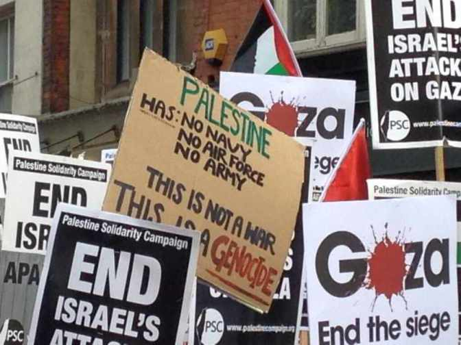 London Palestine has no army no airforce no navy its genocide