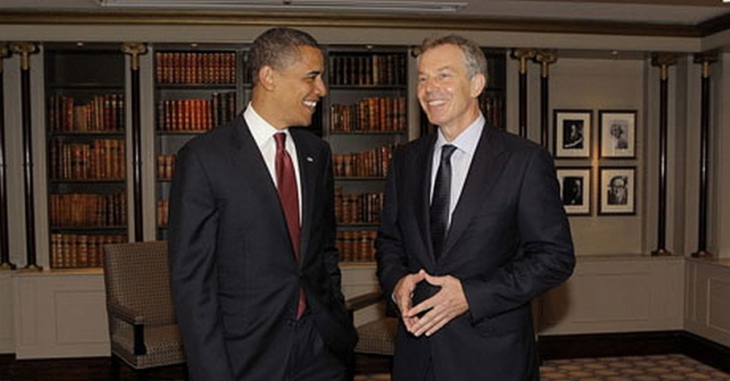 Obama & Blair smiling