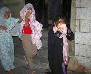 Palestinian little girls crying after teargas attack by Jews at their mosque in Qarawat Bani Hassan