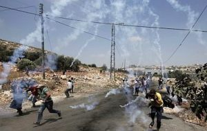 Teargas shot at protestors and media covering weekly protest at Kfar Qaddum near Nablus 4 July 2014 AFP-Jaafer Ashtiyeh
