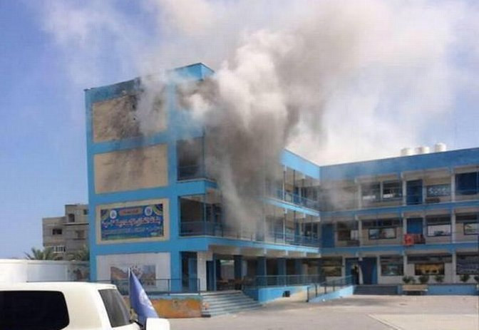 UN school in Jabiliya during attack 30 July