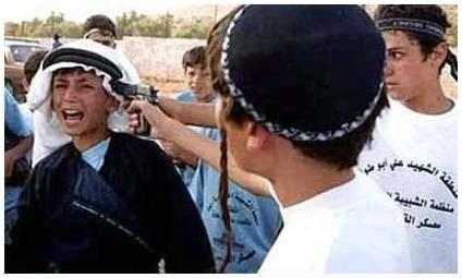 Violent Jewish boys point hand gun at Palestinian boy