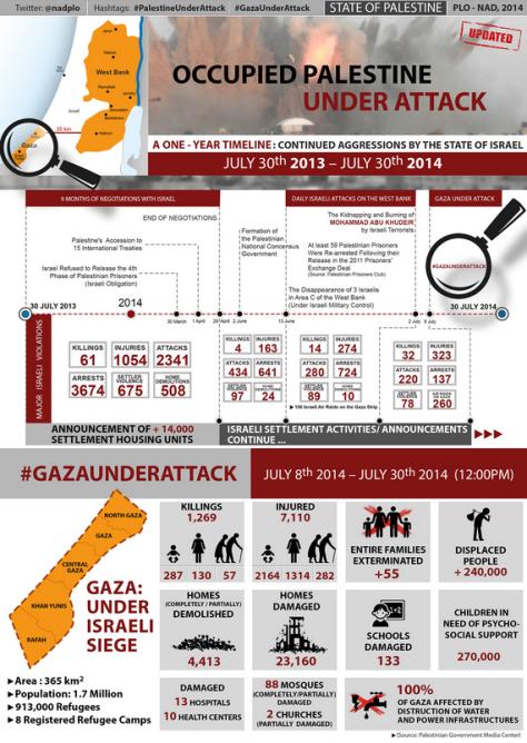 1-year timeline 30 July 2013- 2014 Palestine UnderAttack