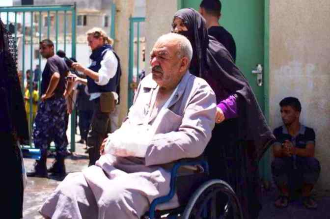 Elderly man injured in Rafah. Jon Donnison