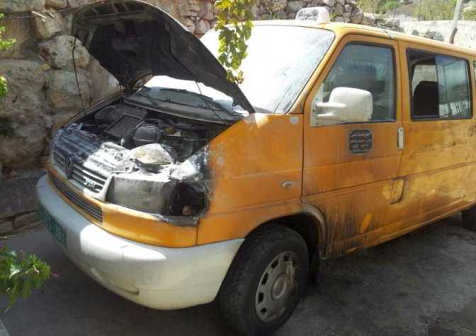 Violent Jewish settler colonists torched Palestinian's van 10 Aug in Yasuf near Tapuach Junction