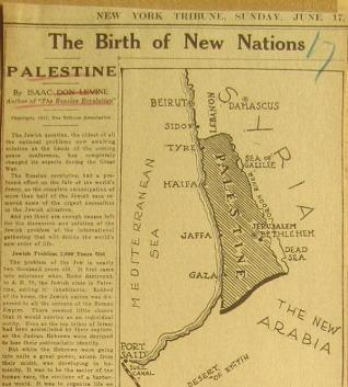 Map in NY Tribune 1917 of Palestine